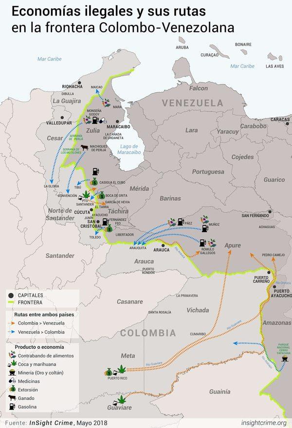 Venezuela refugio narcotrafico contrabando-colombiano- Rutas
